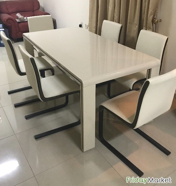 Dining Table, Six Chairs, Good Condition , Home Center For