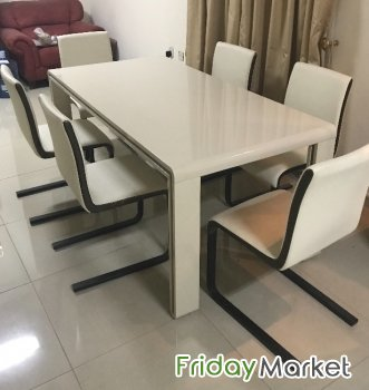 Dining Table Six Chairs Good Condition Home Center For